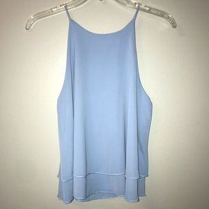 Two Tier Light Blue Sleeveless Blouse